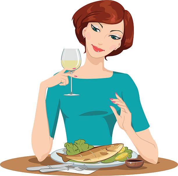 ilustrações de stock, clip art, desenhos animados e ícones de menina comer e beber vinho peixe - woman eating salmon