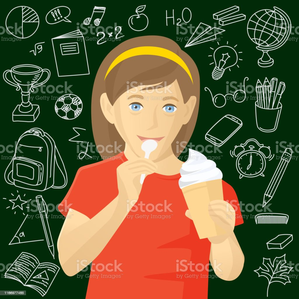 Girl Eating Ice Cream. Back To School Sketch Chalkboard Doodles. Hand...