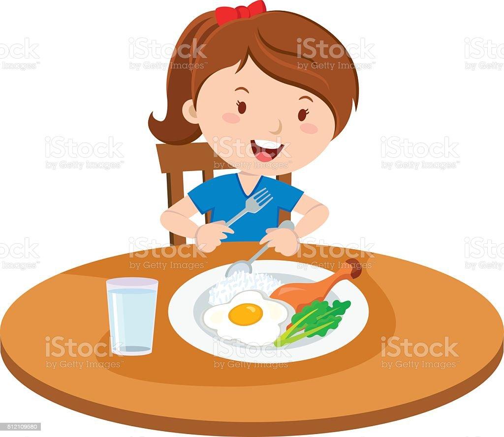 Eating Child Breakfast Cartoon Clip Art, Vector Images & Illustrations - iStock