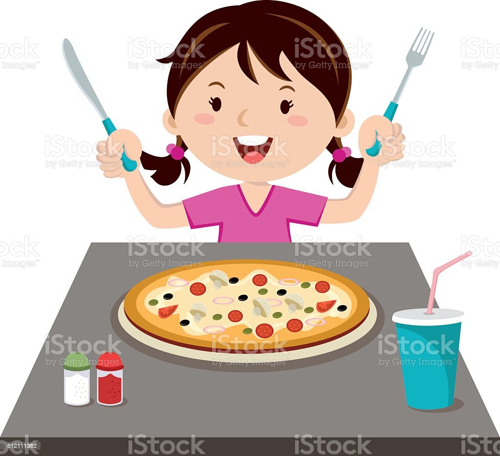 royalty free kids eating pizza clip art vector images