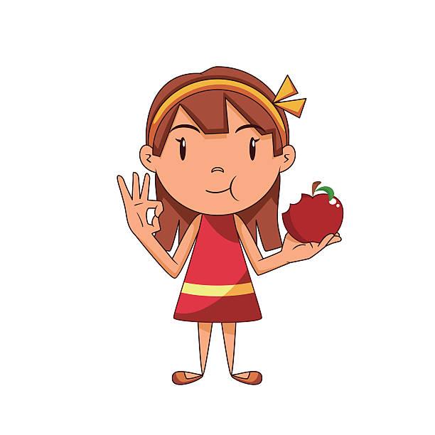 Best Kid Eating Apple Illustrations Royalty Free Vector