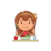 Child eating salad, cute kid, eat, vegetables, girl, healthy food, vegan, lettuce, tomato, apple, glass of water, diet, young woman, detox, person, happy cartoon character, vector illustration, isolated, white background