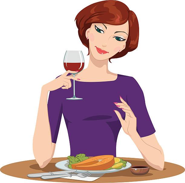 ilustrações de stock, clip art, desenhos animados e ícones de menina comer filete de salmão e beber vinho tinto - woman eating salmon