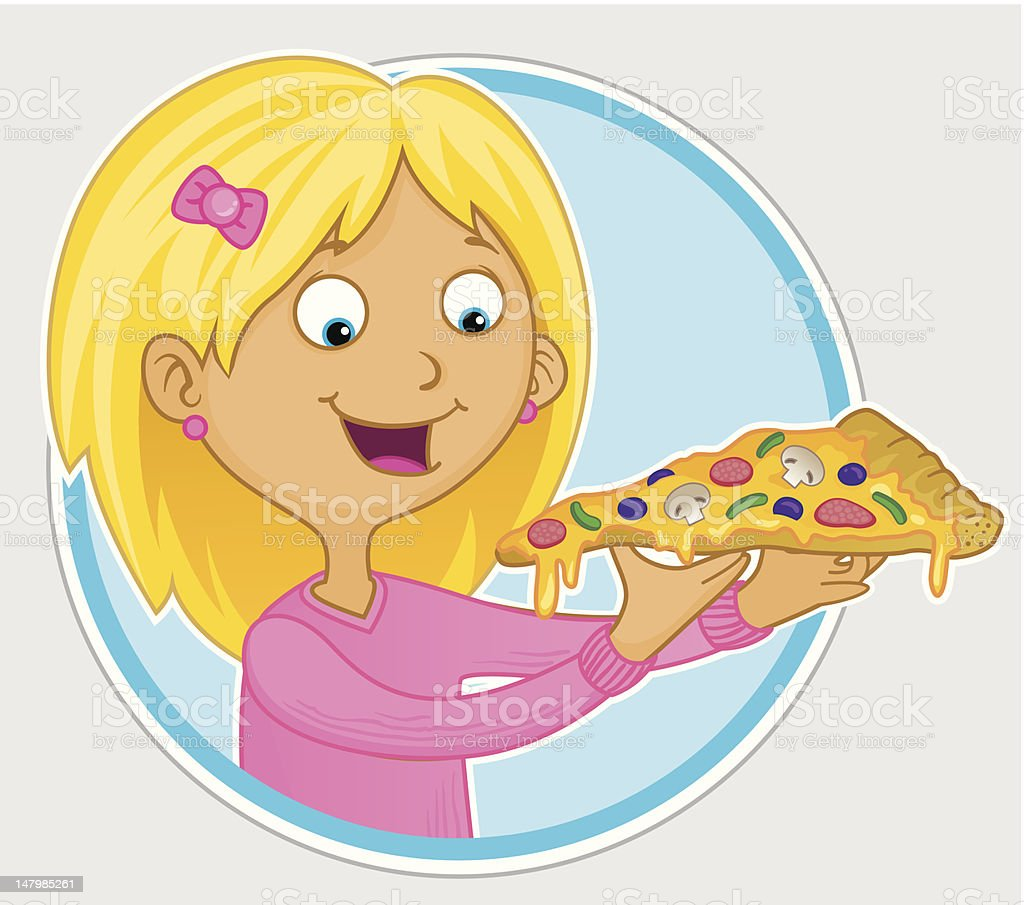 chica comiendo rebanada de pizza arte vectorial de stock clipart pizza slice clip art pizza slice face