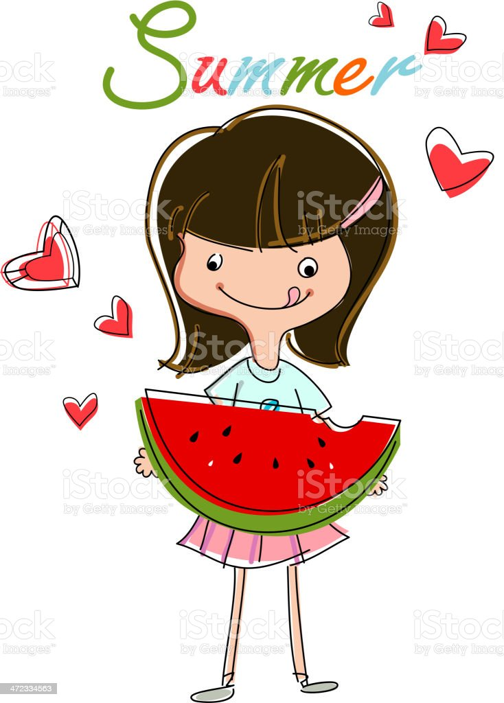 Girl Eating Watermelon royalty-free stock vector art