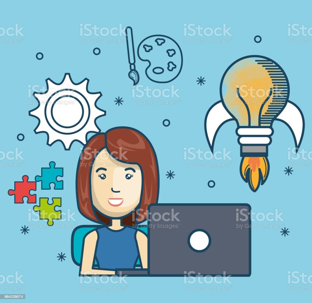 girl education online with laptop design royalty-free girl education online with laptop design stock vector art & more images of adult