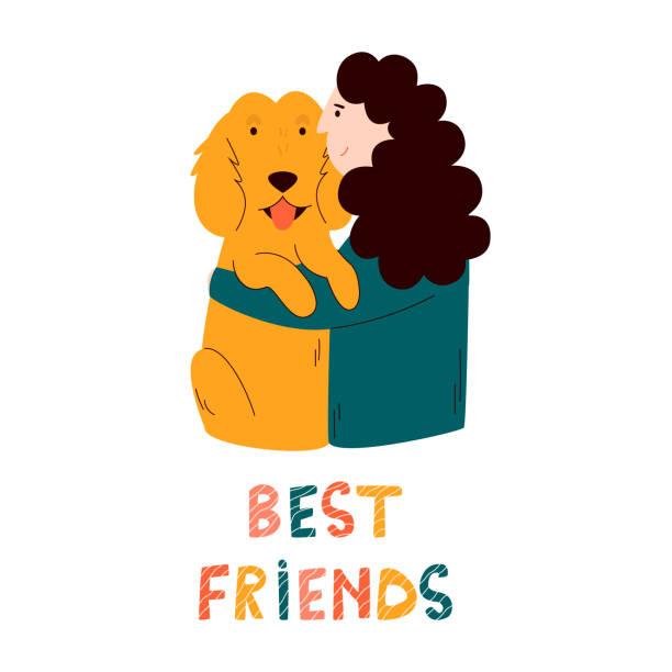 illustrations, cliparts, dessins animés et icônes de fille embrassant son chien d'épagneul. concept d'amitié. illustration colorée de dessin animé de vecteur - femme seule s'enlacer