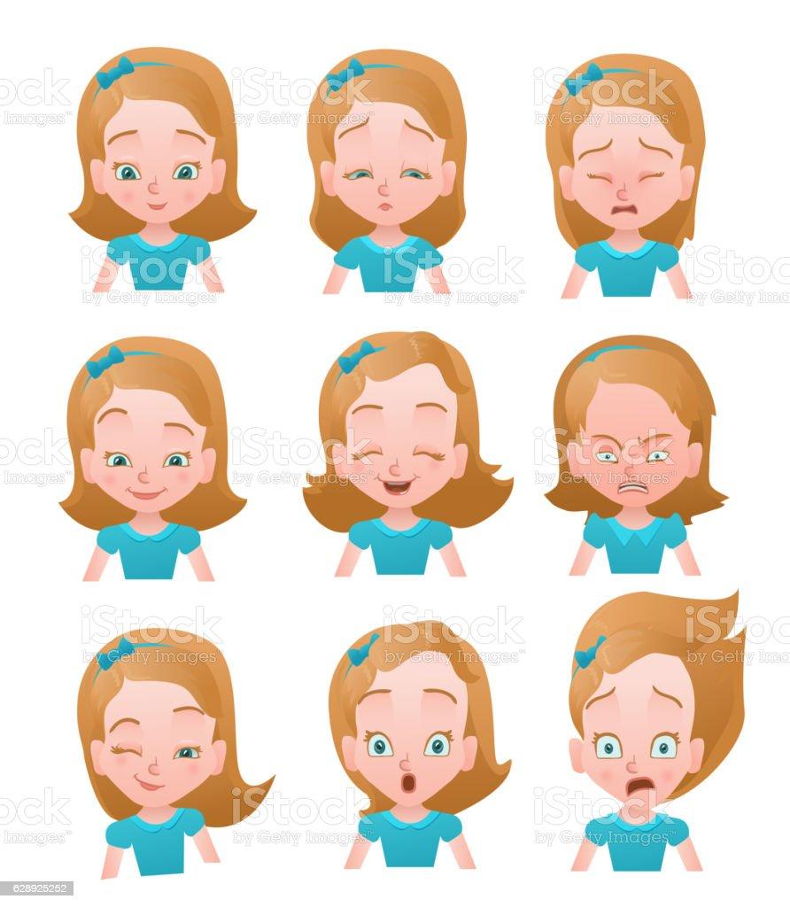 Worksheets Emotion Faces girl emotions vector setemotion faces icons female emoji set stock emotion royalty free