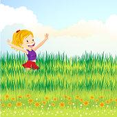 Teenager girl hand up to enjoy the breeze inside the grassland.