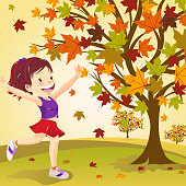 Teenager girl hand up to feeling the autumn in nature.