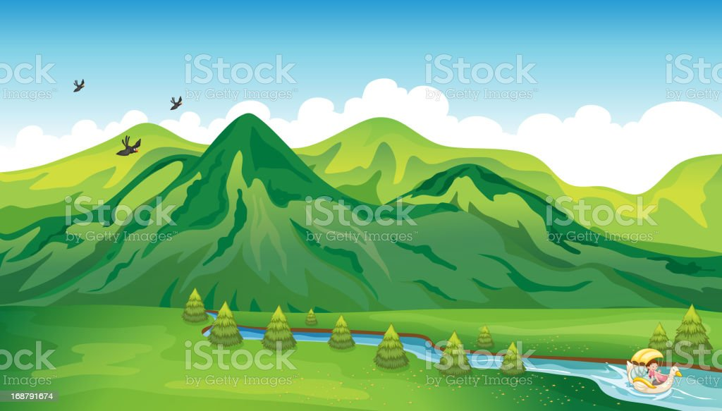Girl enjoying the gift of nature royalty-free girl enjoying the gift of nature stock vector art & more images of bird