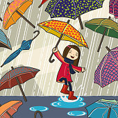 Girl Enjoying with lots of umbrellas in Rainy day