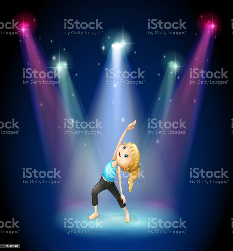 girl exercising at the center of  stage royalty-free stock vector art