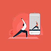 istock Girl Exercising With Online Yoga Trainer In Mobile Phone, Concept Of Online Yoga Courses illustration, indoor fitness activity, yoga at home 1223028067