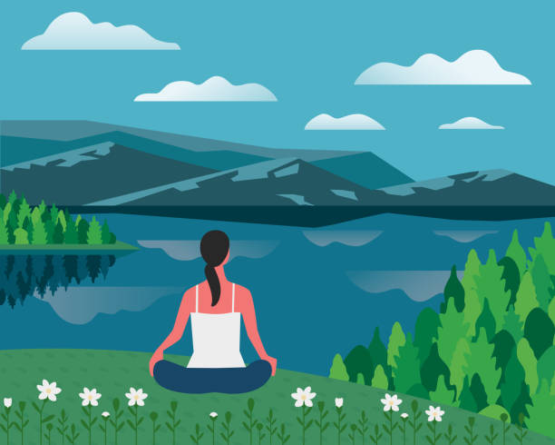 Girl exercising yoga on nature flat color vector Girl exercising yoga on nature flat color vector. Summer nature outdoors relax cartoon. Girl in yoga relaxing pose on calm lake. Hand drawn landscape illustration. Healthy lifestyle poster background active lifestyle stock illustrations