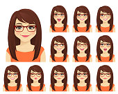 Girl in glasses with different facial expressions set isolated