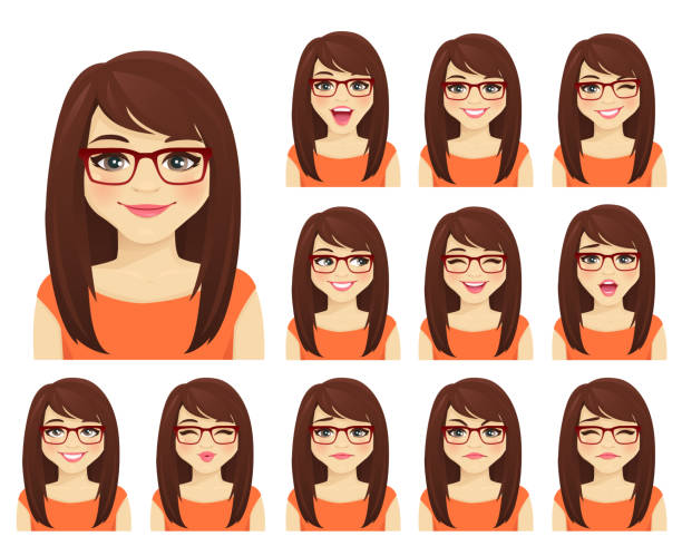 Girl expressions set Girl in glasses with different facial expressions set isolated cartoon people stock illustrations