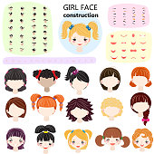 Girl face constructor vector kids character avatar and girlish creation head lips or eyes illustration girlie set of facial elements construction with children hairstyle isolated on white background.