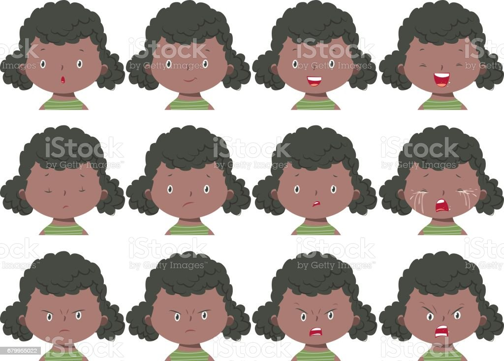 Girl face expressions vector art illustration