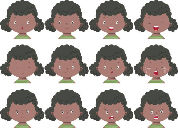 Girl face expressions - Illustration vectorielle