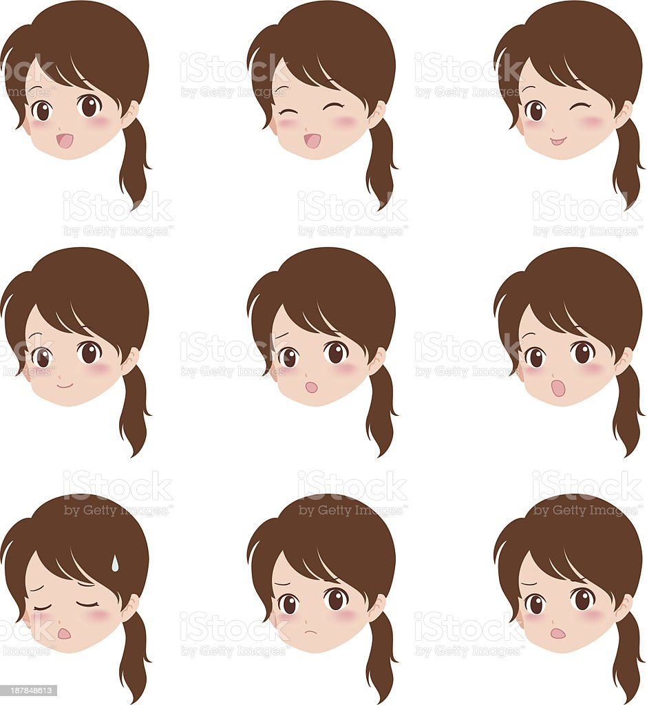 girl face vector art illustration
