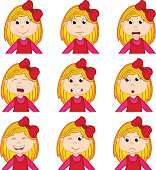 girl faces showing different emotions