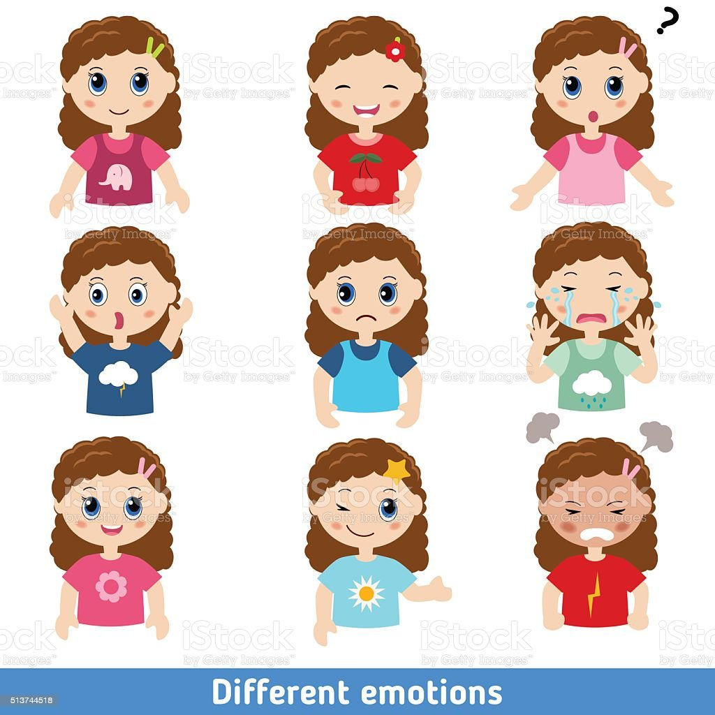 Girl faces vector art illustration