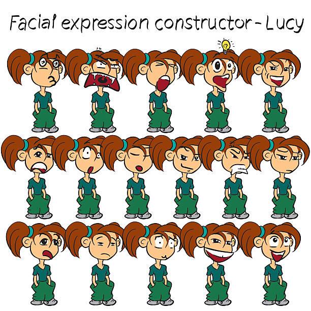 Girl facial expressions vector art illustration