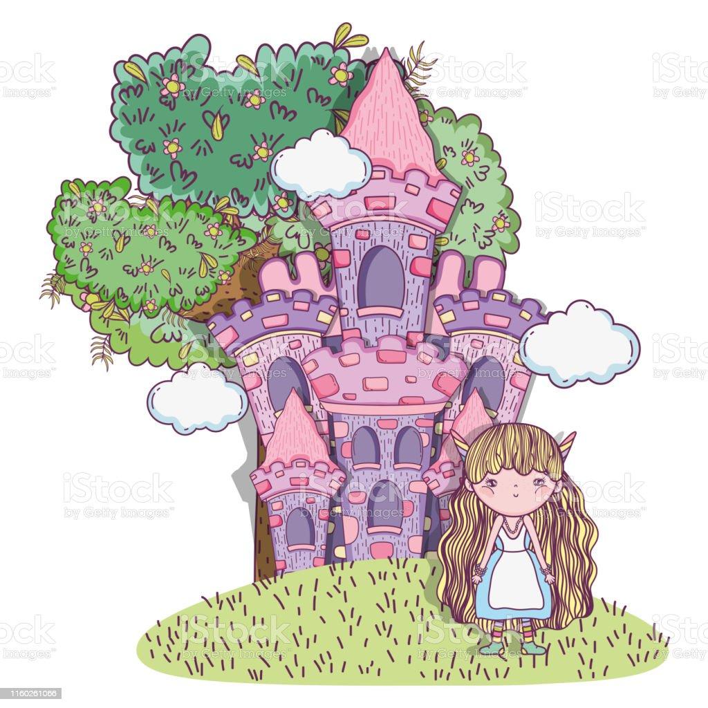 Un Chateau Dans Les Nuages créature fantastique de fille avec le château et les nuages