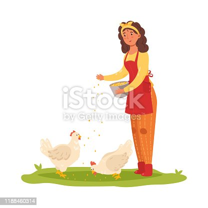 istock Girl farmer feeding chickens. Vector illustration in flat cartoon style. 1188460314