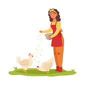 istock Girl farmer feeding chickens. Vector illustration in flat cartoon style. 1188460314