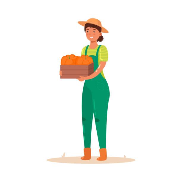 야채의 작물과 나무 상자를 들고 소녀 농부. 평면 만화 스타일의 벡터 일러스트레이션입니다. - 잘 익은 stock illustrations