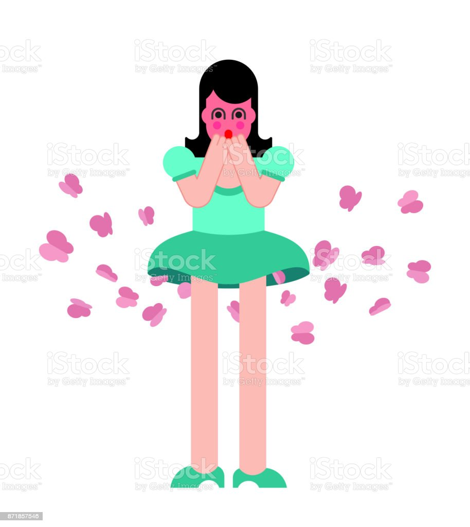 Mariposa de pedos de niña. Mujer pedorra. Ilustración de vector - ilustración de arte vectorial