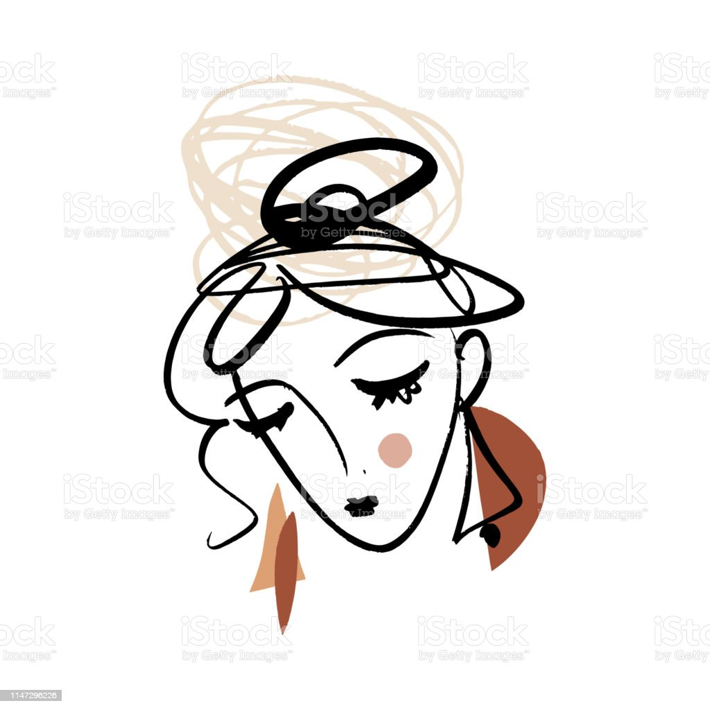 Girl fashion sketch. Simple hand drawn line portrait face art. Print...