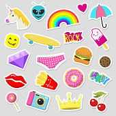 Girl fashion stickers patches cute colorful badges fun cartoon icons design doodle element trendy print vector illustration. Comic fabric textile pin.