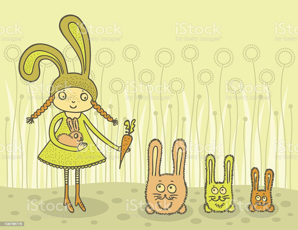 Girl feeding bunnies vector art illustration