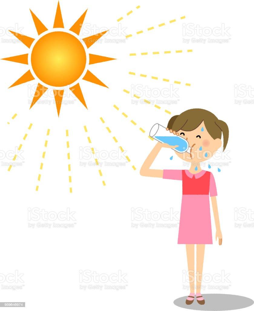 Chica alimentación hidratación - arte vectorial de Adolescente libre de derechos