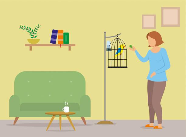 ilustrações de stock, clip art, desenhos animados e ícones de girl feeding parrot at her home - coffee table