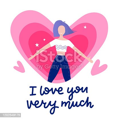 Girl feeling in love with lettering texts - i love you very much - with heart on background. Cute vector, cartoon, valentine s day decoration card, banner, website