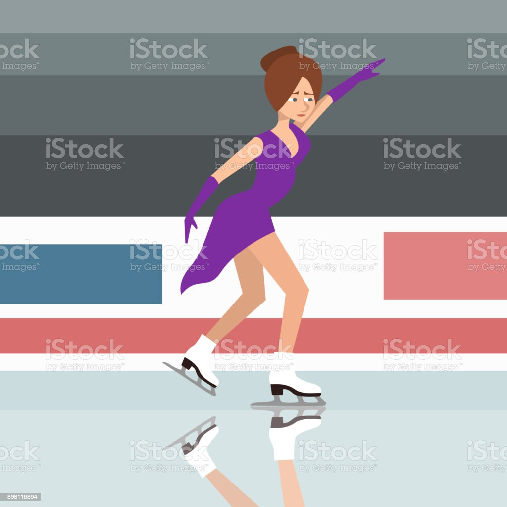 girl figure skater vector cartoon vector art illustration