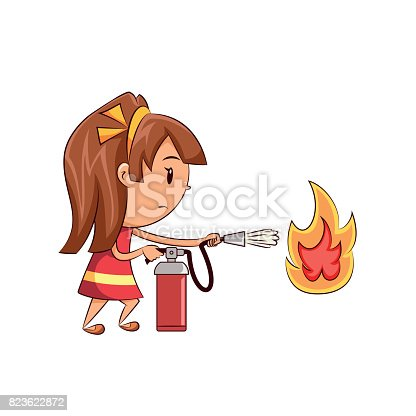 Child using fire extinguisher, cute kid extinguishing flame, girl, danger situation, emergency, equipment, safety, procedure, cartoon, character, young women, vector illustration, isolated, white background