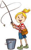 A girl fishing on white background illustration