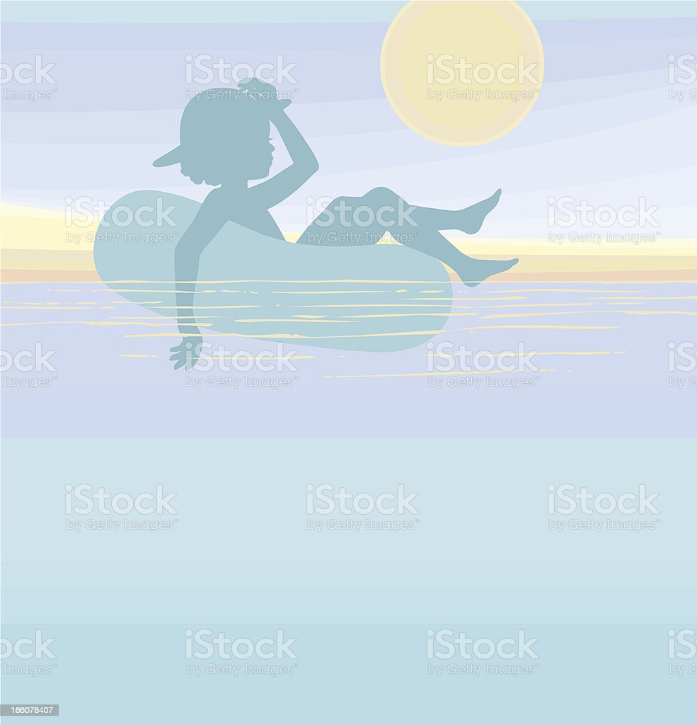 Girl floating on water royalty-free stock vector art