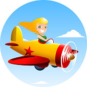 Girl flying an airplane.
