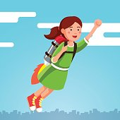 Girl flying in the sky clouds on a rocket jetpack
