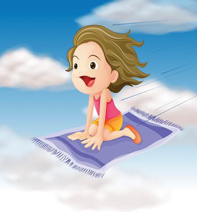 Girl flying on mat