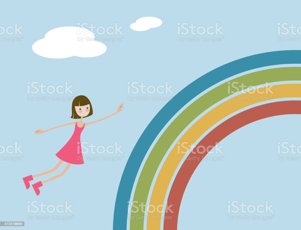 Girl flying on rainbow royalty-free girl flying on rainbow stock vector art & more images of abstract