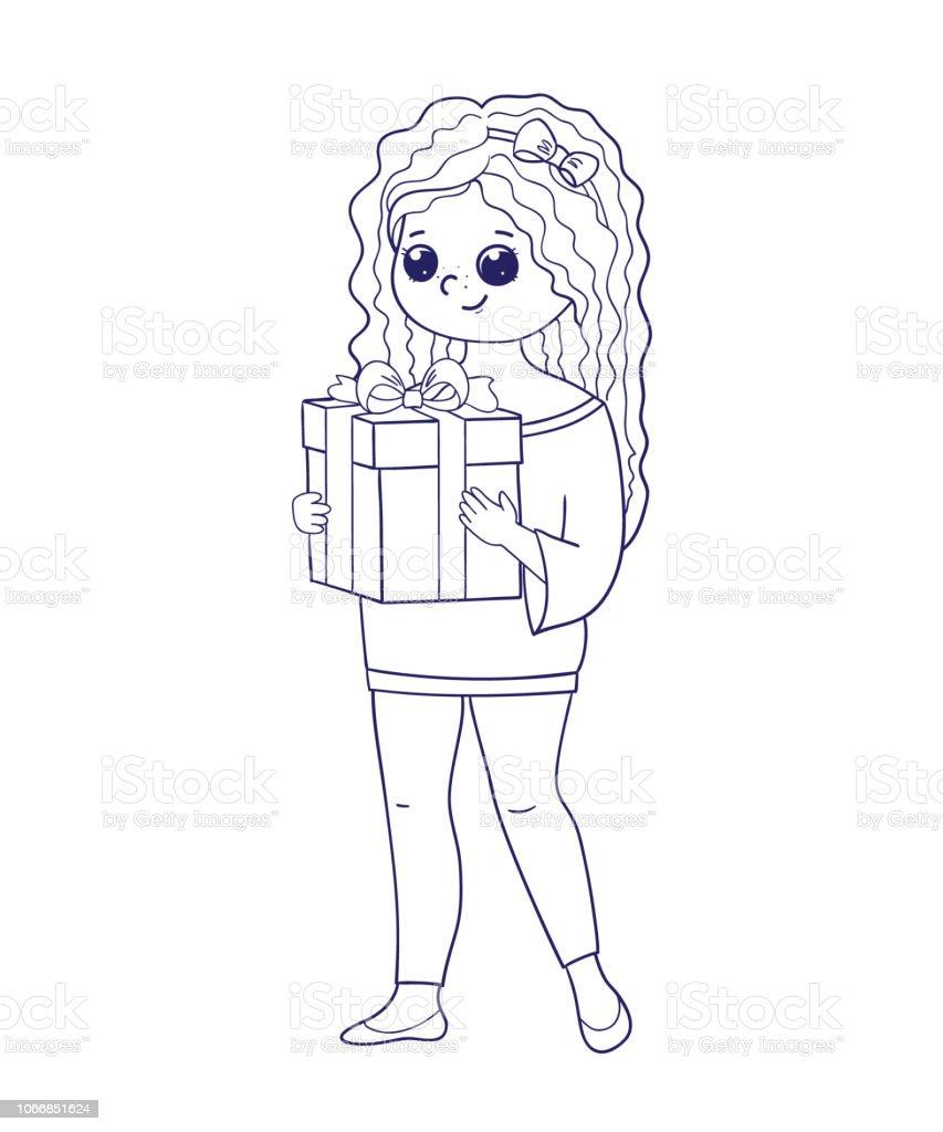 塗り絵の女の子女の子にプレゼント箱を持って いたずら書きのベクター