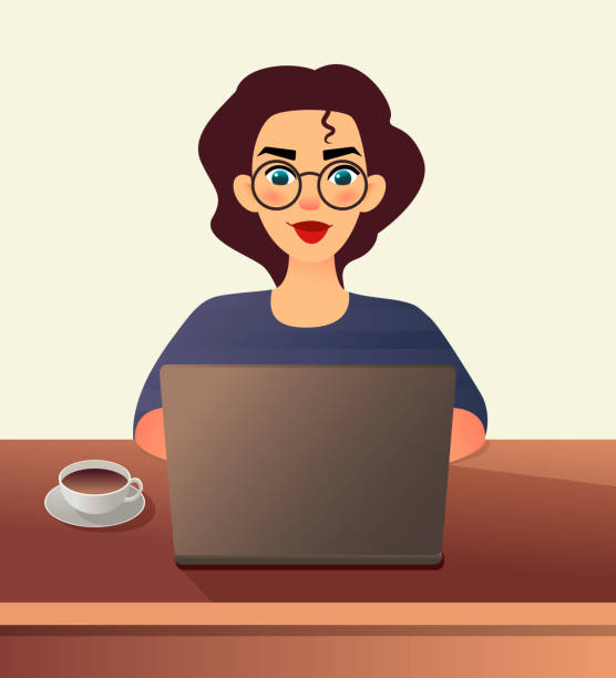 ilustrações de stock, clip art, desenhos animados e ícones de girl freelancer. young woman in glasses works at home sitting in front of a laptop. cartoon flat girl working online or studying and learning while using notebook. freelance work concept - young girl computer home front