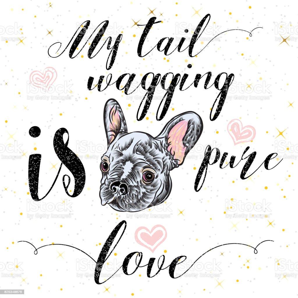 女の子のフレンチ ブルドッグ イラスト金いろの印刷かわいいおしゃれな犬